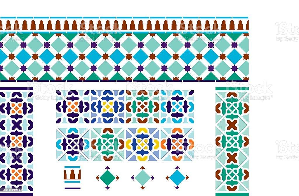 Spanish Andalusian Tiles vector art illustration
