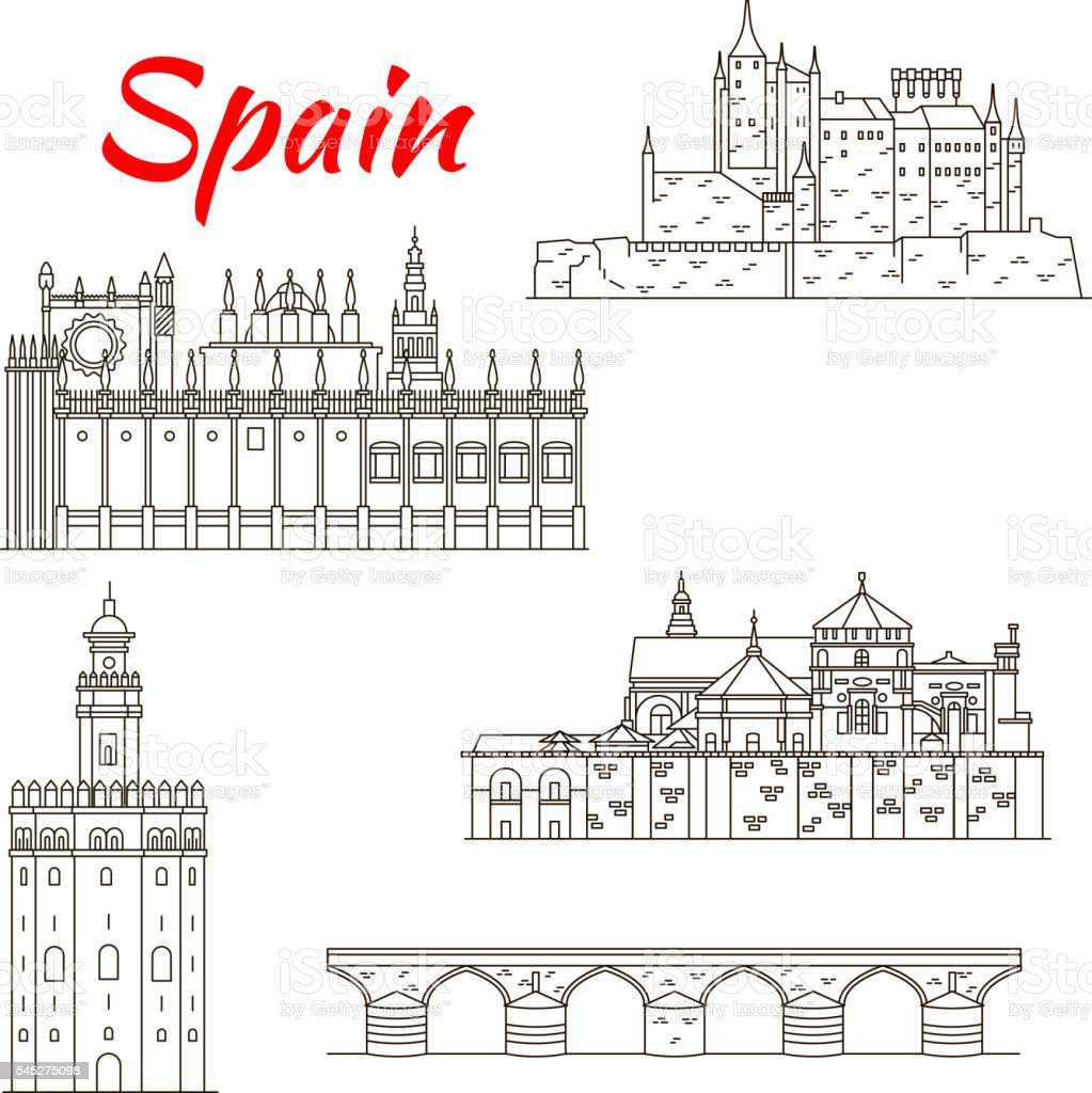 Spanish attractions icon for tourism design vector art illustration