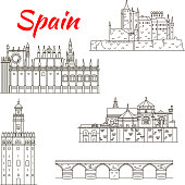 Spanish attractions icon for tourism design