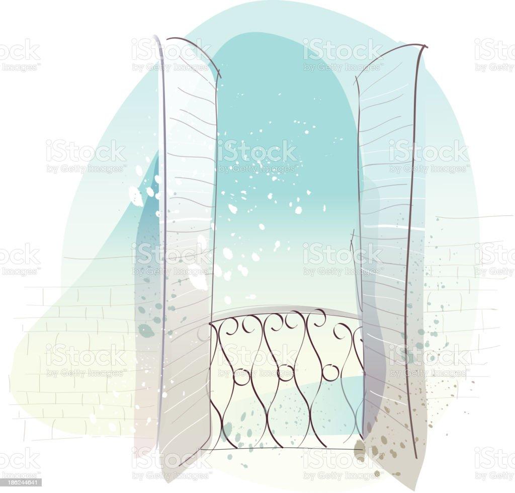 Spanish balcony royalty-free stock vector art