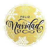 Spanish Christmas decorative background gold ornaments card