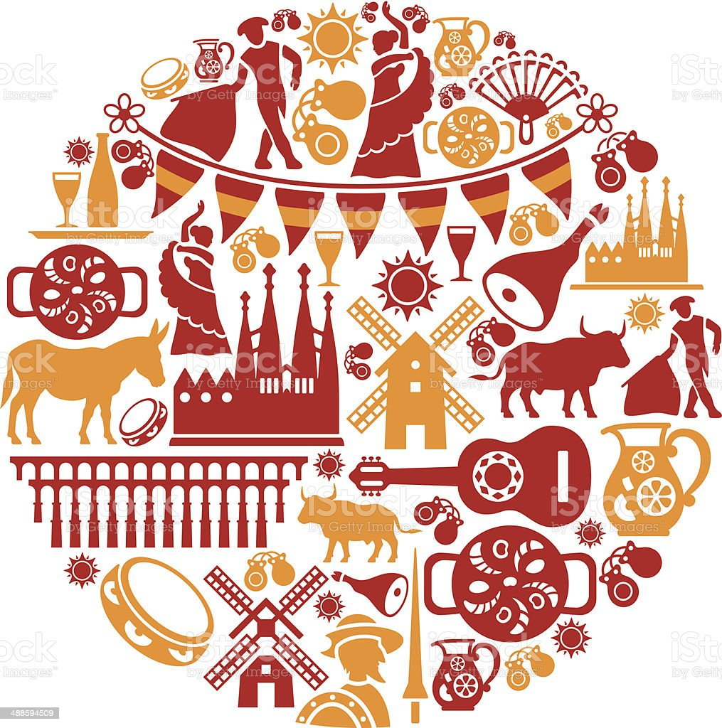 Spanish Collage vector art illustration