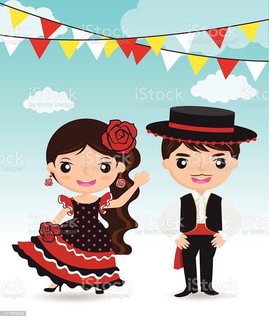 Spanish couple cartoon character vector art illustration