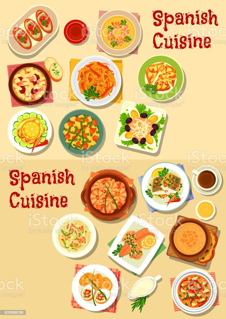 Spanish cuisine seafood dishes icon set design vector art illustration