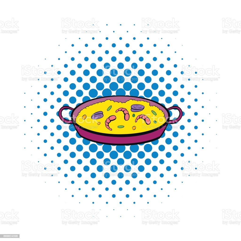 Spanish dish icon in comics style vector art illustration