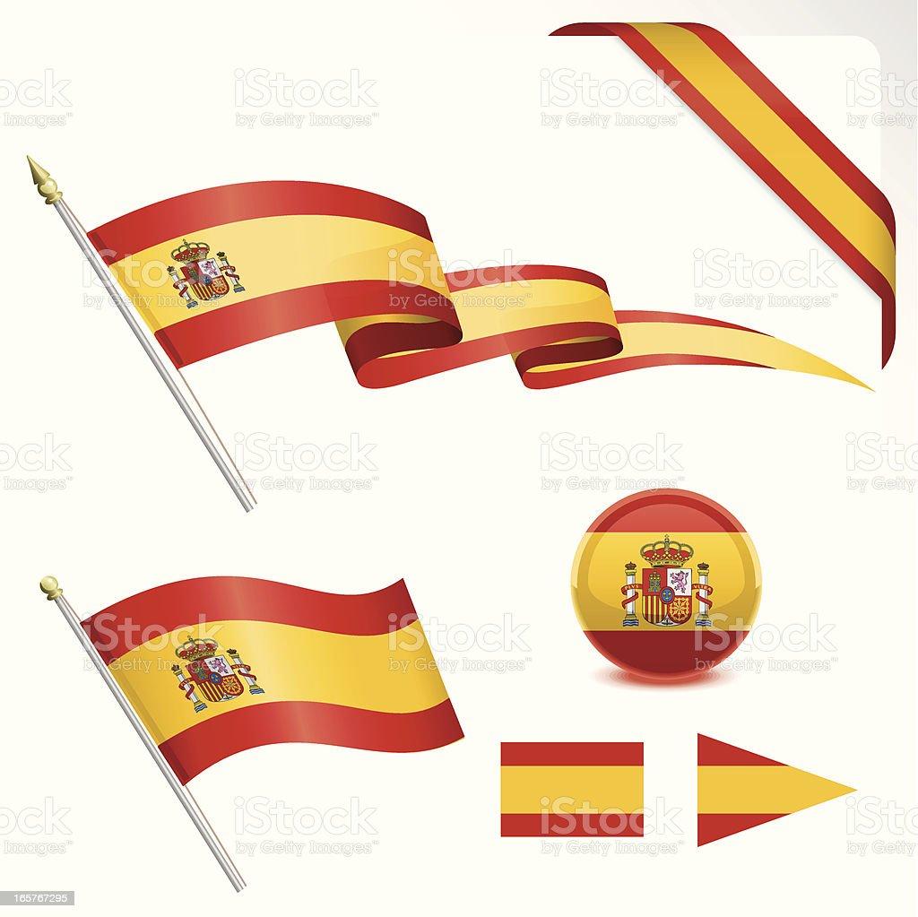 Spanish Flag Set royalty-free stock vector art
