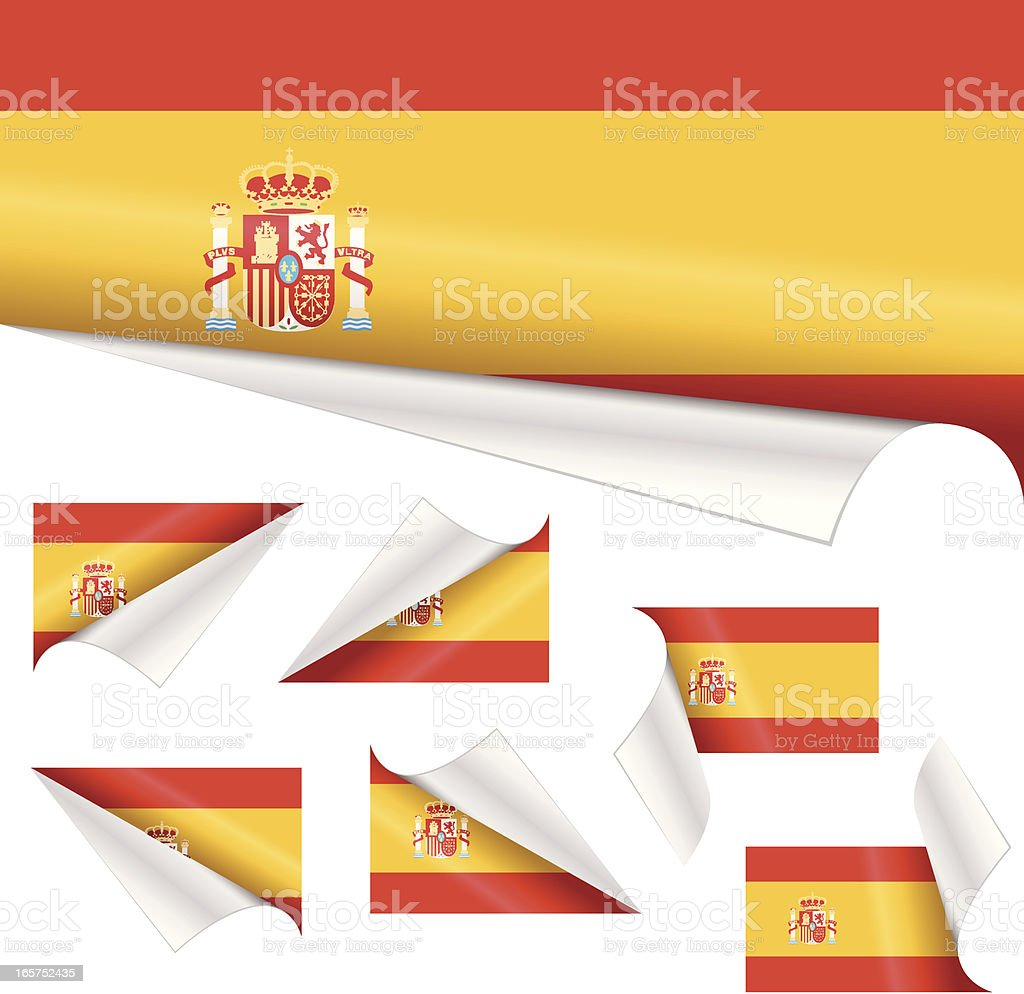Spanish Flags behind Curled Paper royalty-free stock vector art