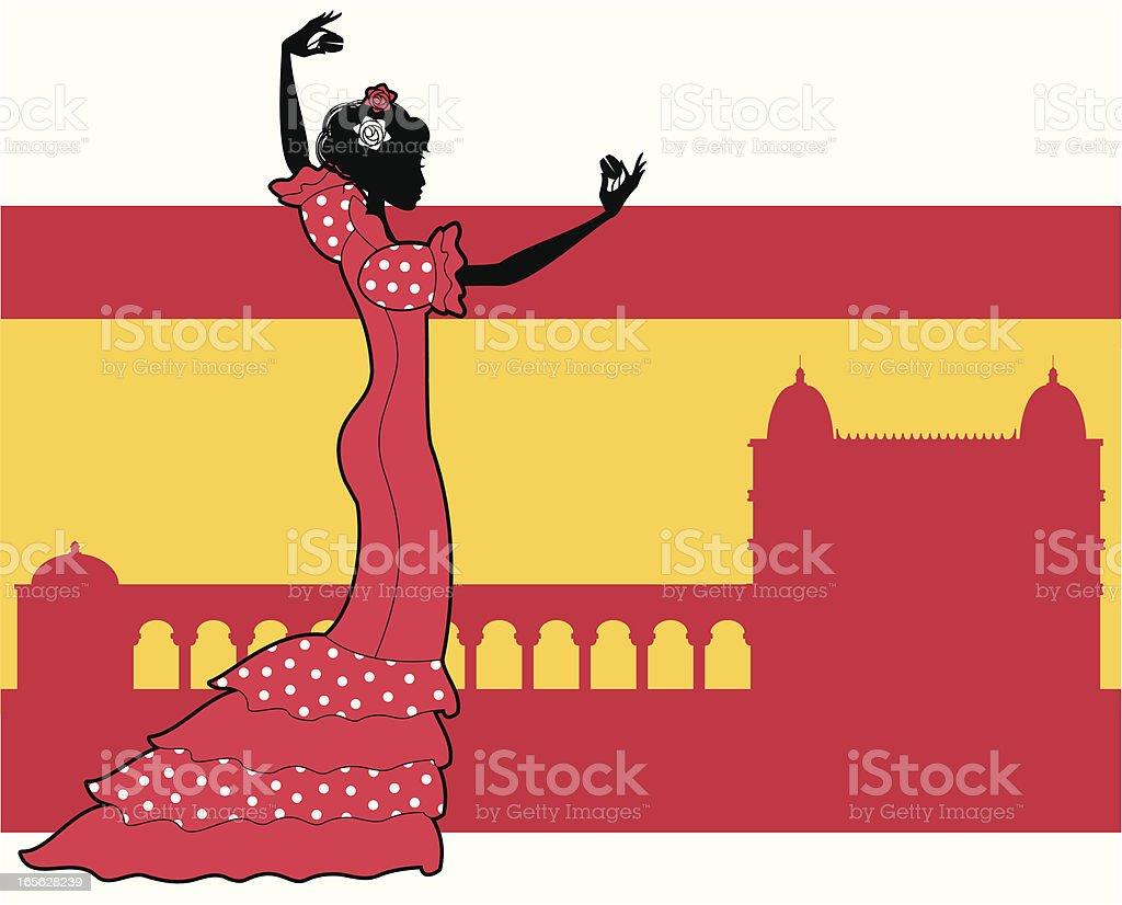 Spanish Flamenco Dancer royalty-free stock vector art