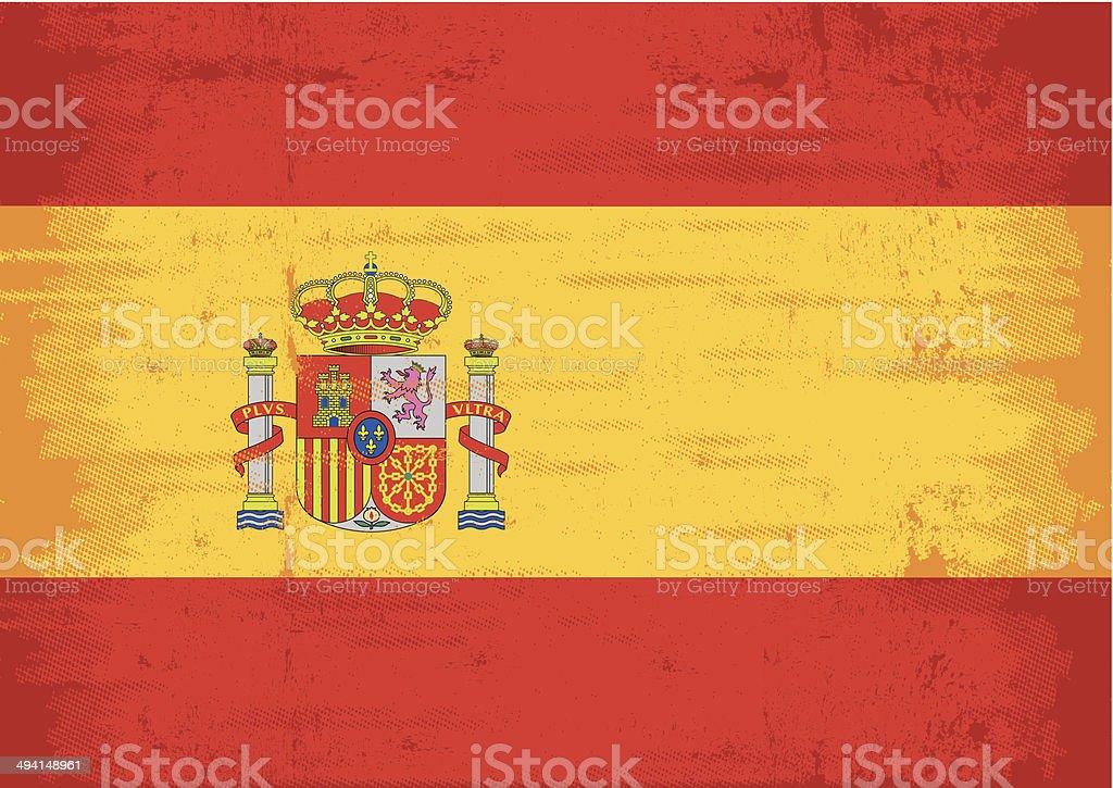 Spanish grunge flag vector art illustration