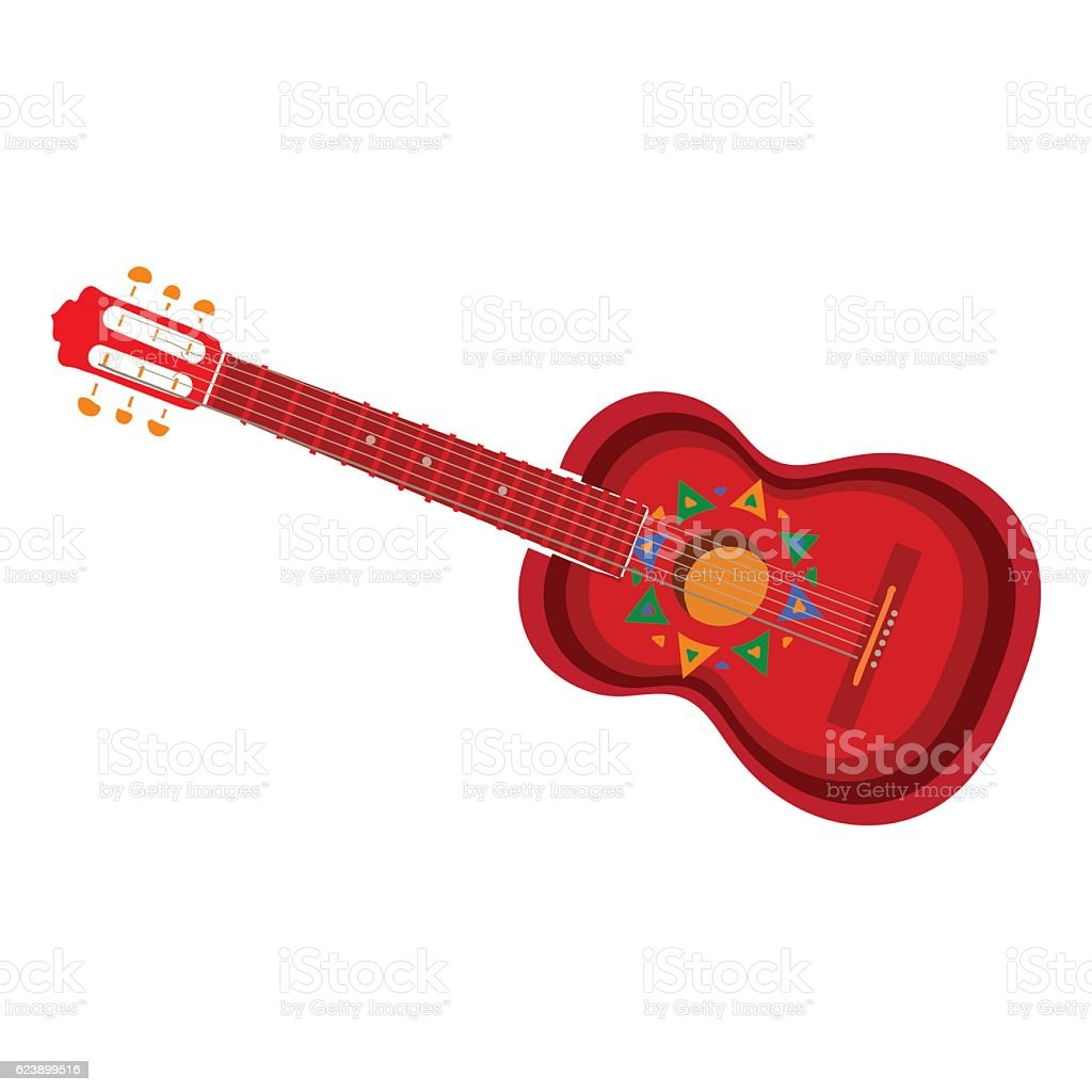 Spanish guitar with Mexican, Aztec ornaments vector art illustration
