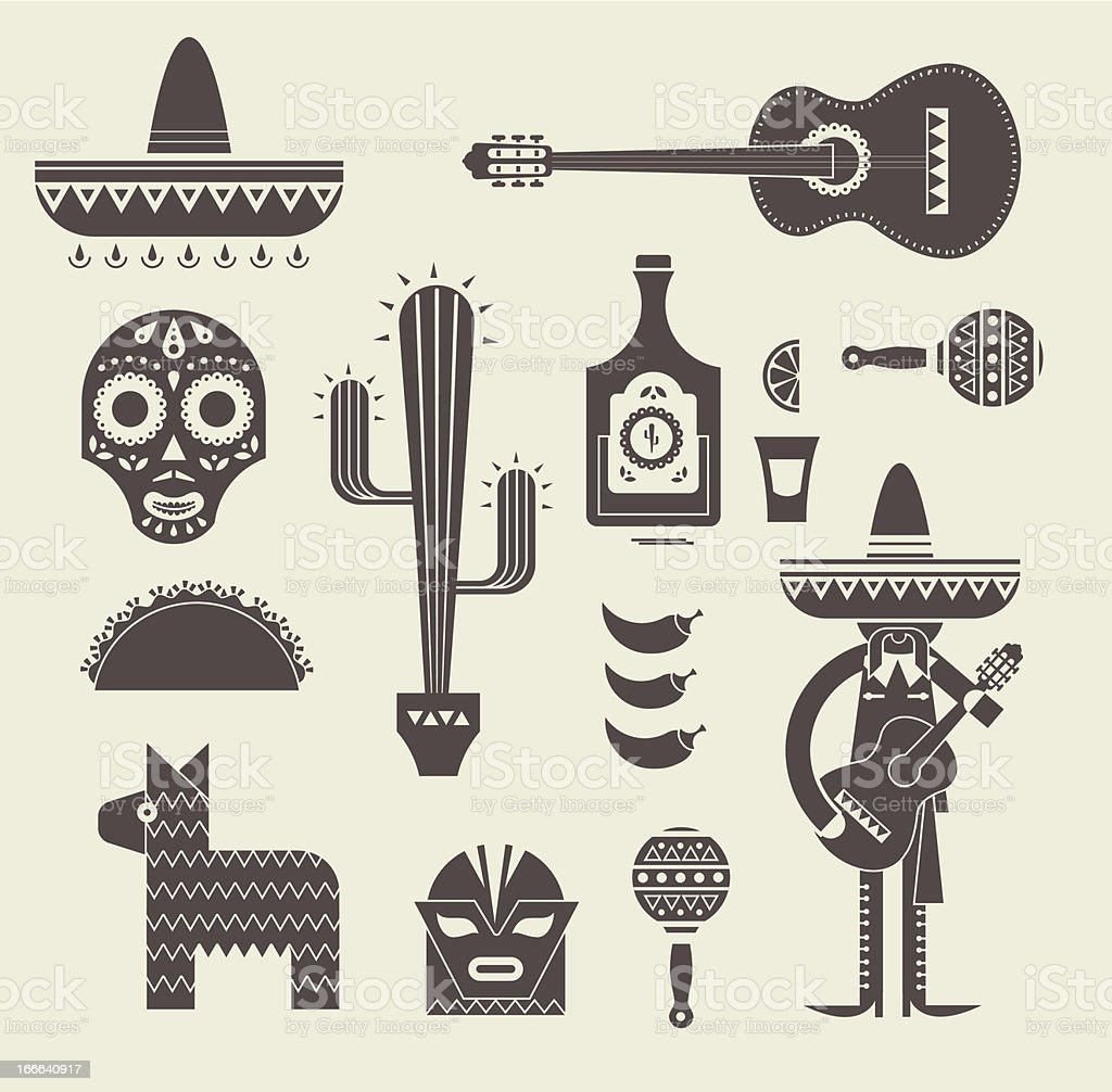 Spanish icons in brown on a cream background vector art illustration