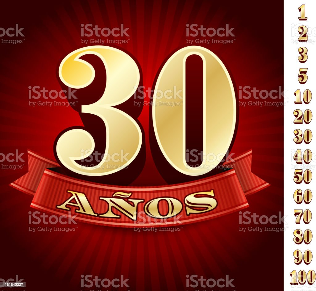 Spanish Language Anniversary Badges Red royalty free vector graphic vector art illustration