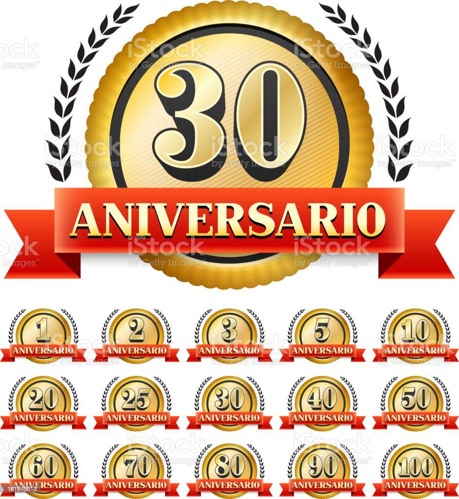 Spanish Language Custom Anniversary Badge royalty-free stock vector art
