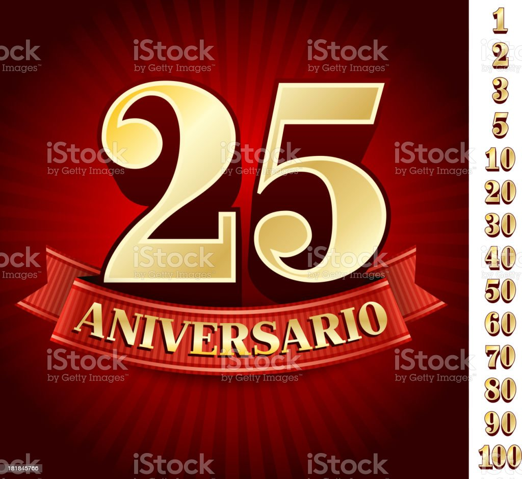 Spanish logo of twenty five anniversary royalty-free stock vector art