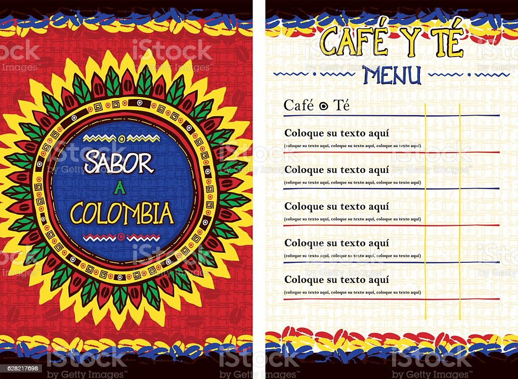 Spanish Menu for cafe, bar, coffeehouse - Sabor a Colombia vector art illustration