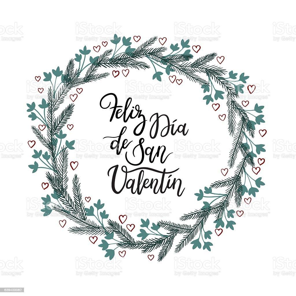 San Valentin Decoration Spanish Text Happy Valentines Day Feliz Dia De San Valentin Stock