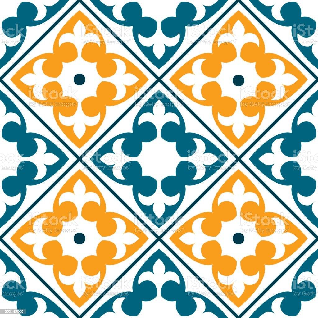 Vector of moroccan tile seamless pattern tile for design tile - Spanish Tile Pattern Portuguese Or Moroccan Tiles Design Seamless In Dark Green And Orange