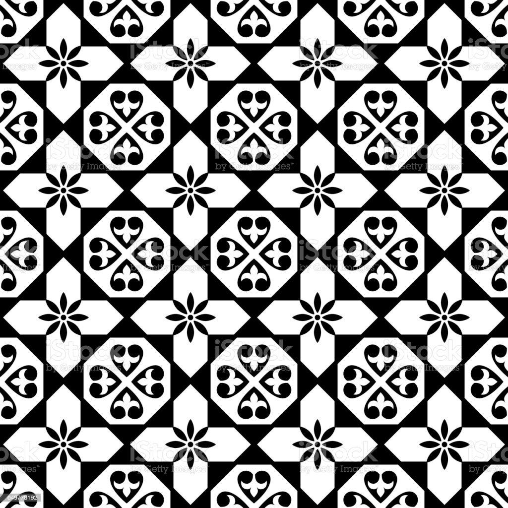 Vector of moroccan tile seamless pattern tile for design tile - Spanish Tiles Pattern Moroccan And Portuguese Tile Seamless Design In Black And White Azulejo