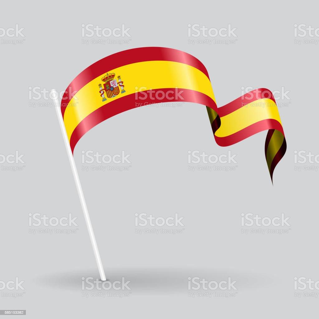 Spanish wavy flag. Vector illustration. vector art illustration