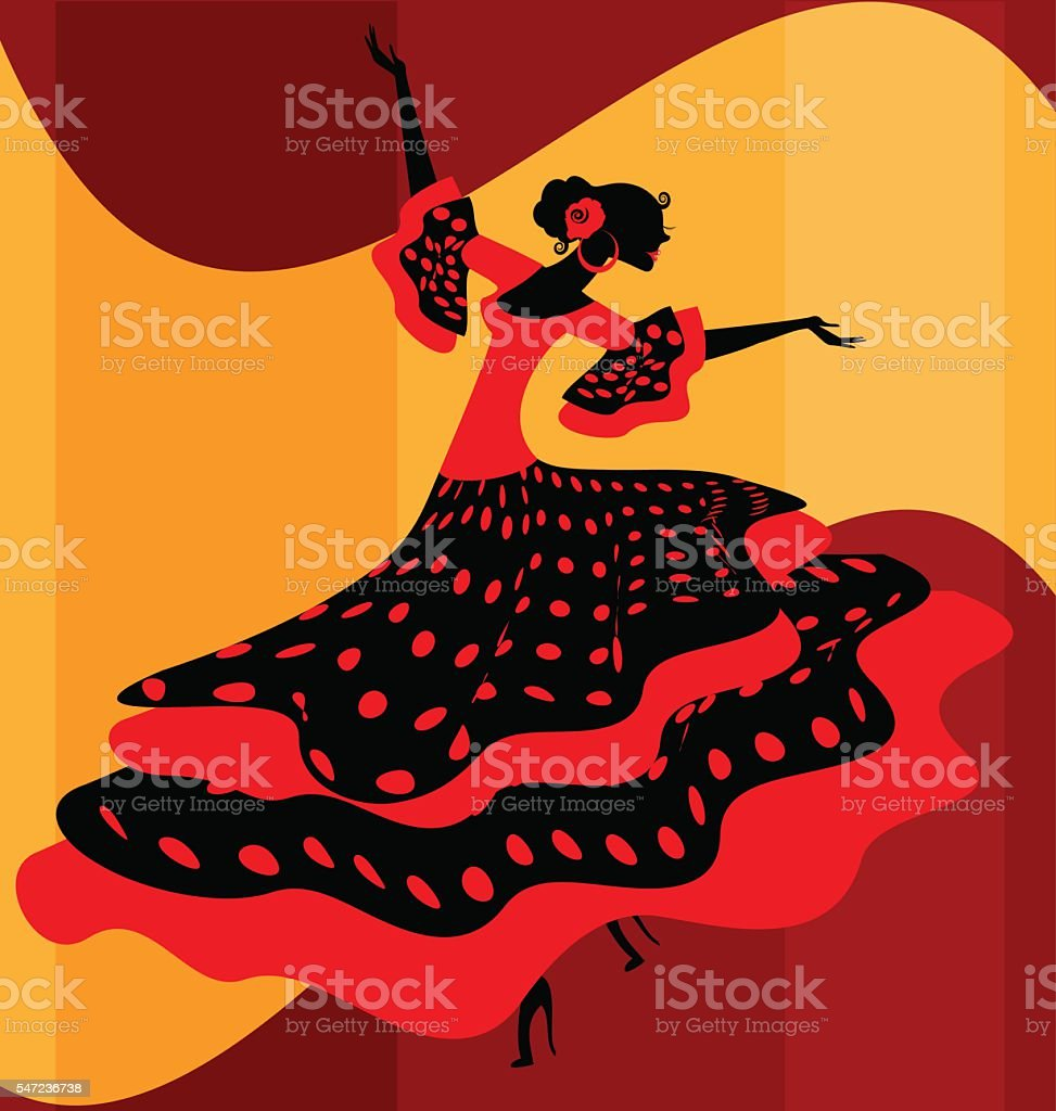 Spanish woman dancer vector art illustration