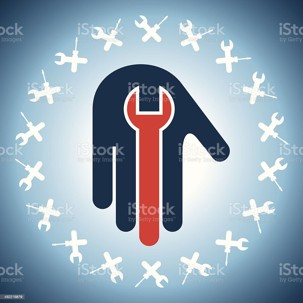 spanner tool in hand royalty-free stock vector art