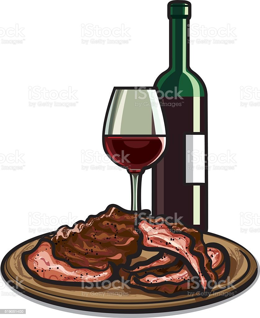 spare ribs and red wine vector art illustration