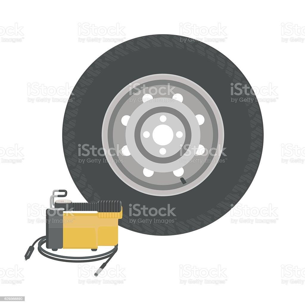 Spare wheel vector art illustration