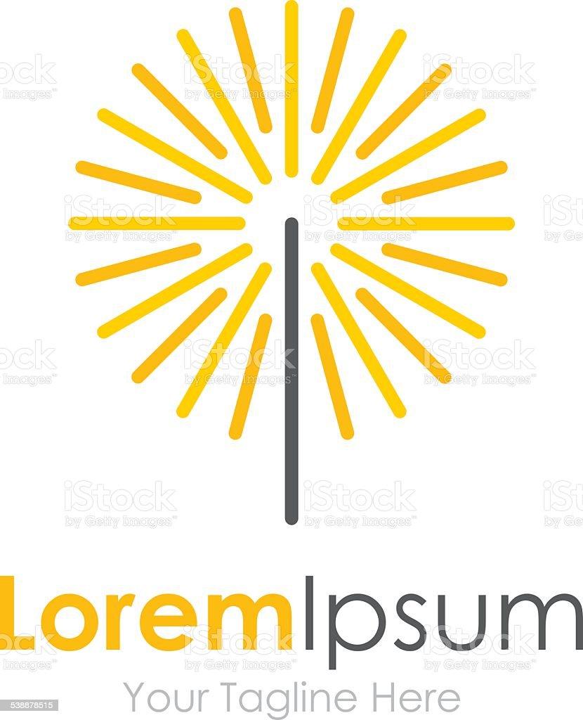 Spark dandelion flower icon simple elements logo vector art illustration