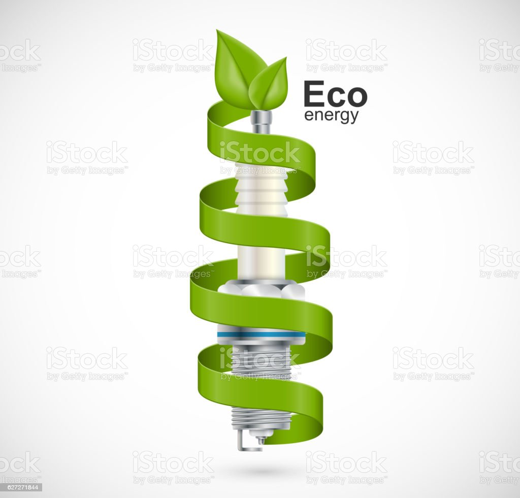 Spark plug with a green ribbon. vector art illustration
