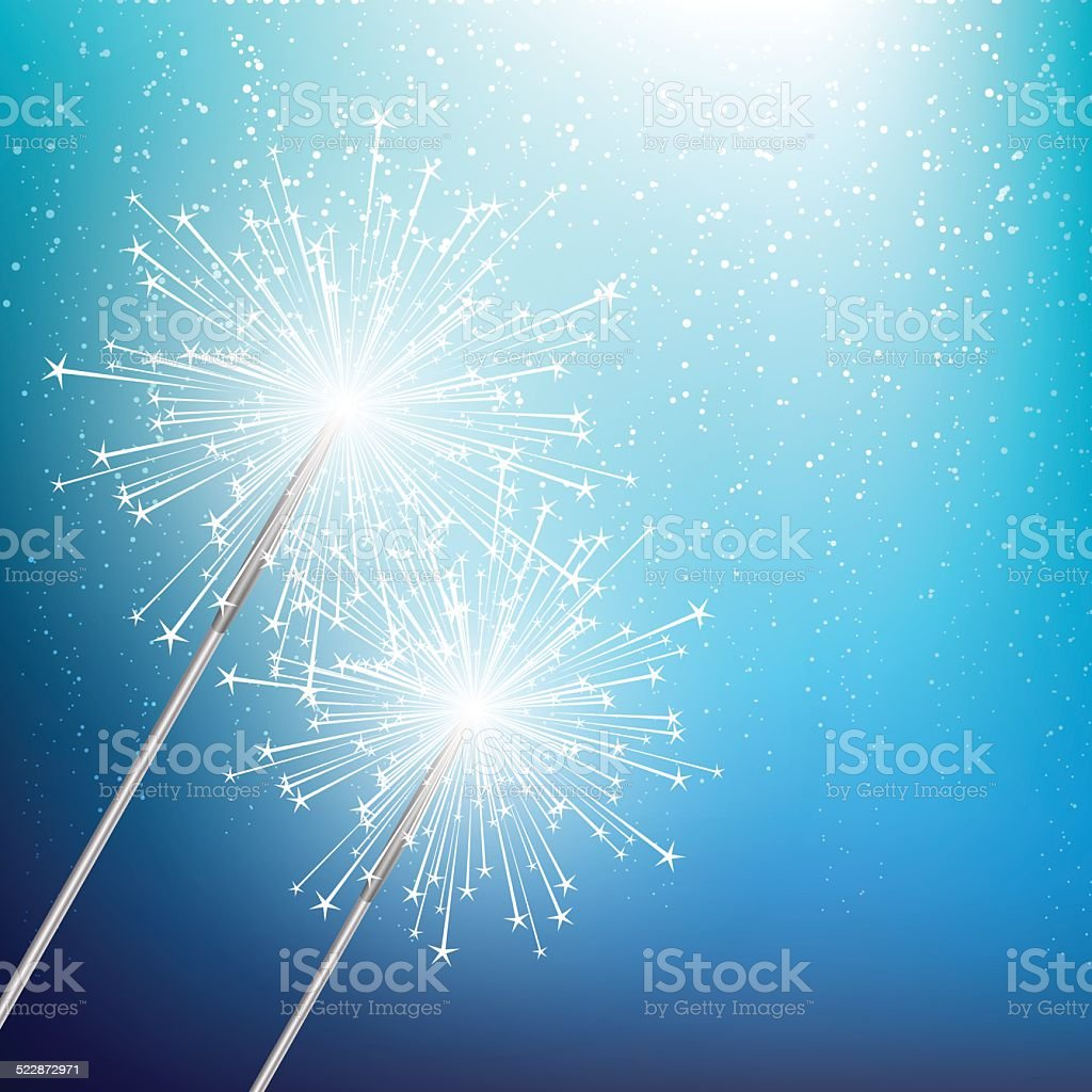 Sparkler on blue Christmas background vector art illustration