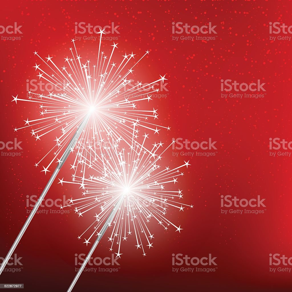 Sparkler on blue Christmas background vector art illustration