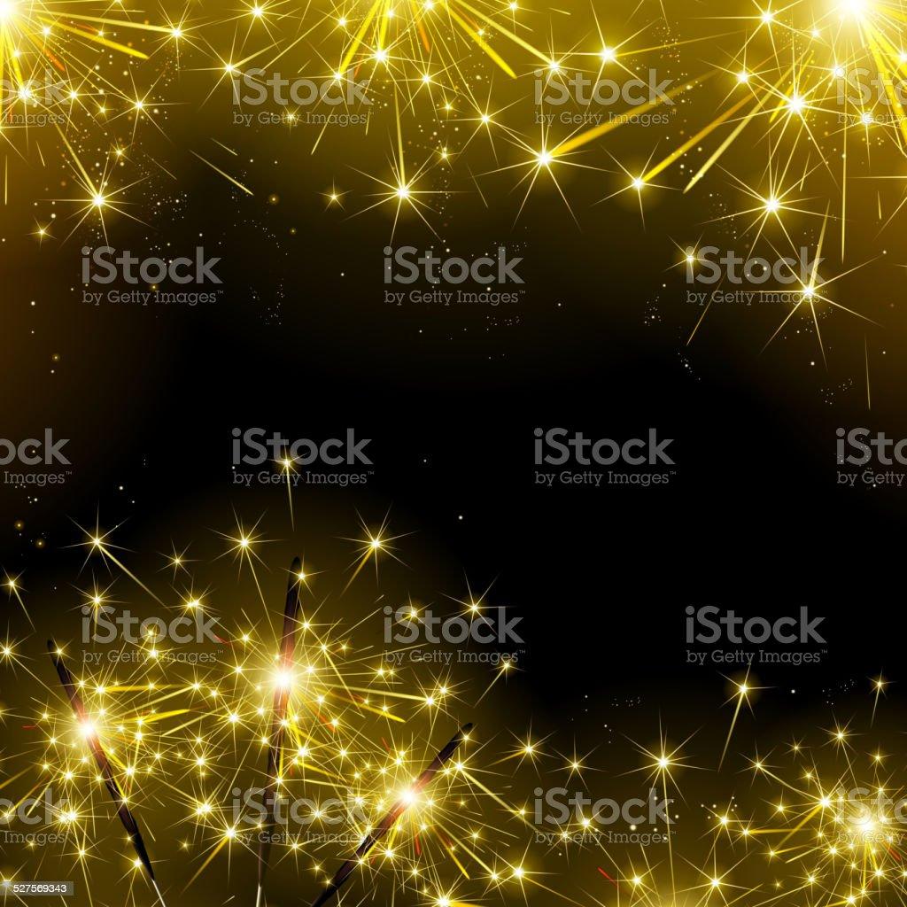 sparklers and fireworks vector art illustration