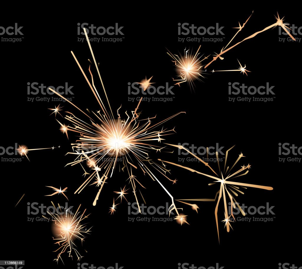 Sparklers in a bark background vector art illustration