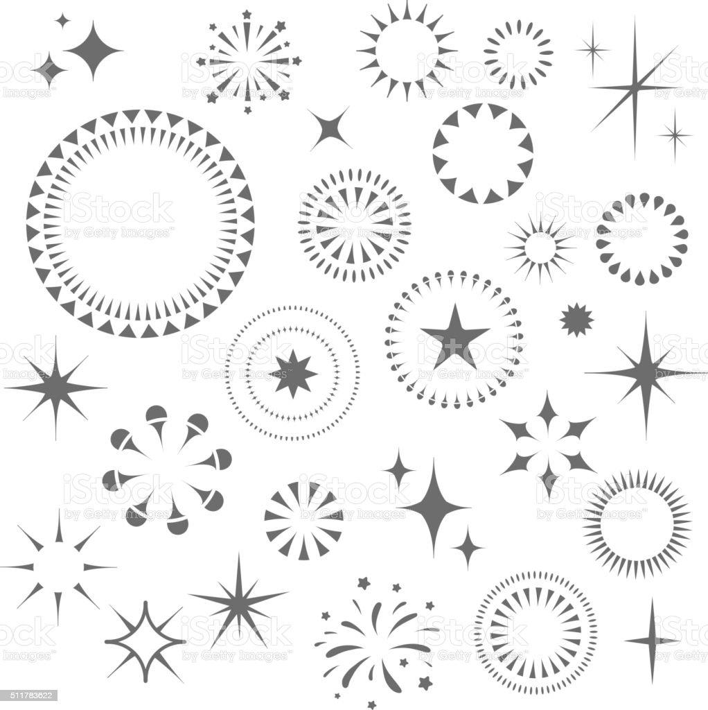 Sparkles and Starbursts set vector art illustration