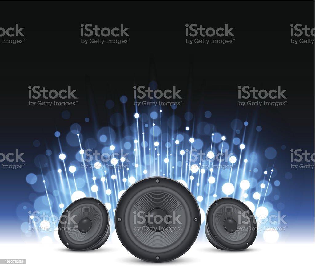 Sparkling blue music background vector art illustration
