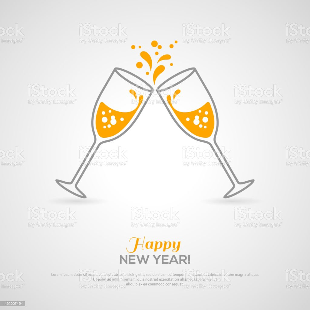 Sparkling champagne glasses. Minimalistic concept vector art illustration
