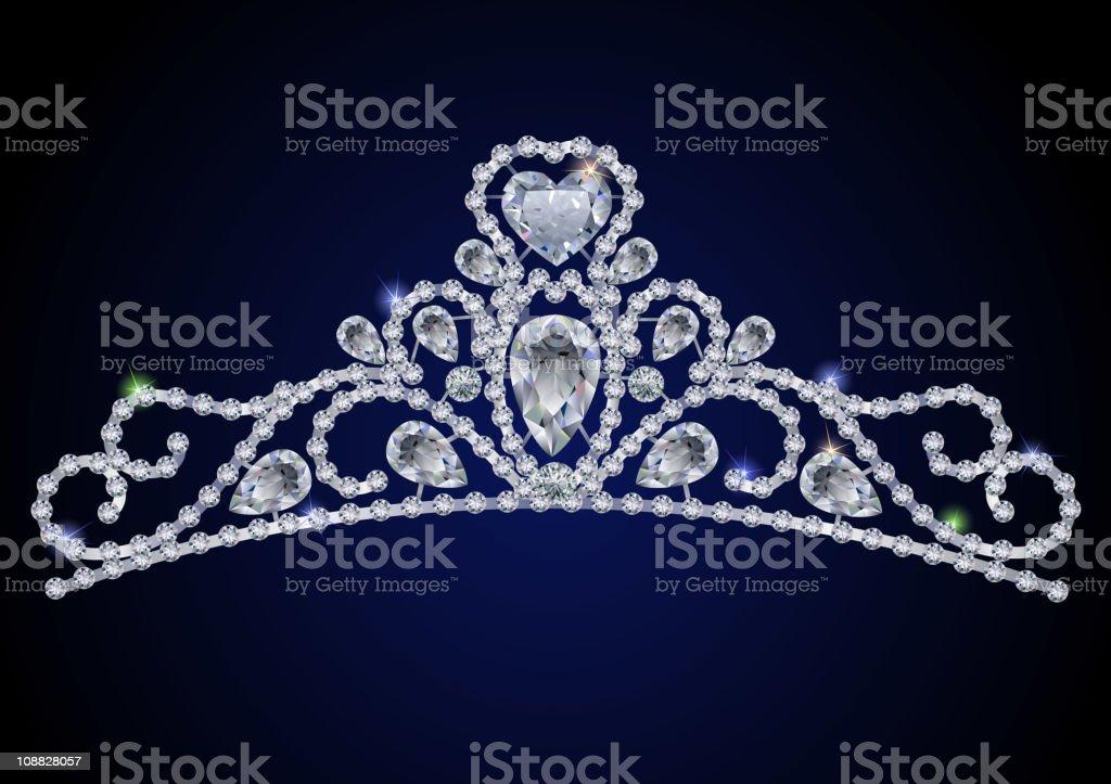 Sparkling diamond gem Tiara on a royal blue background vector art illustration