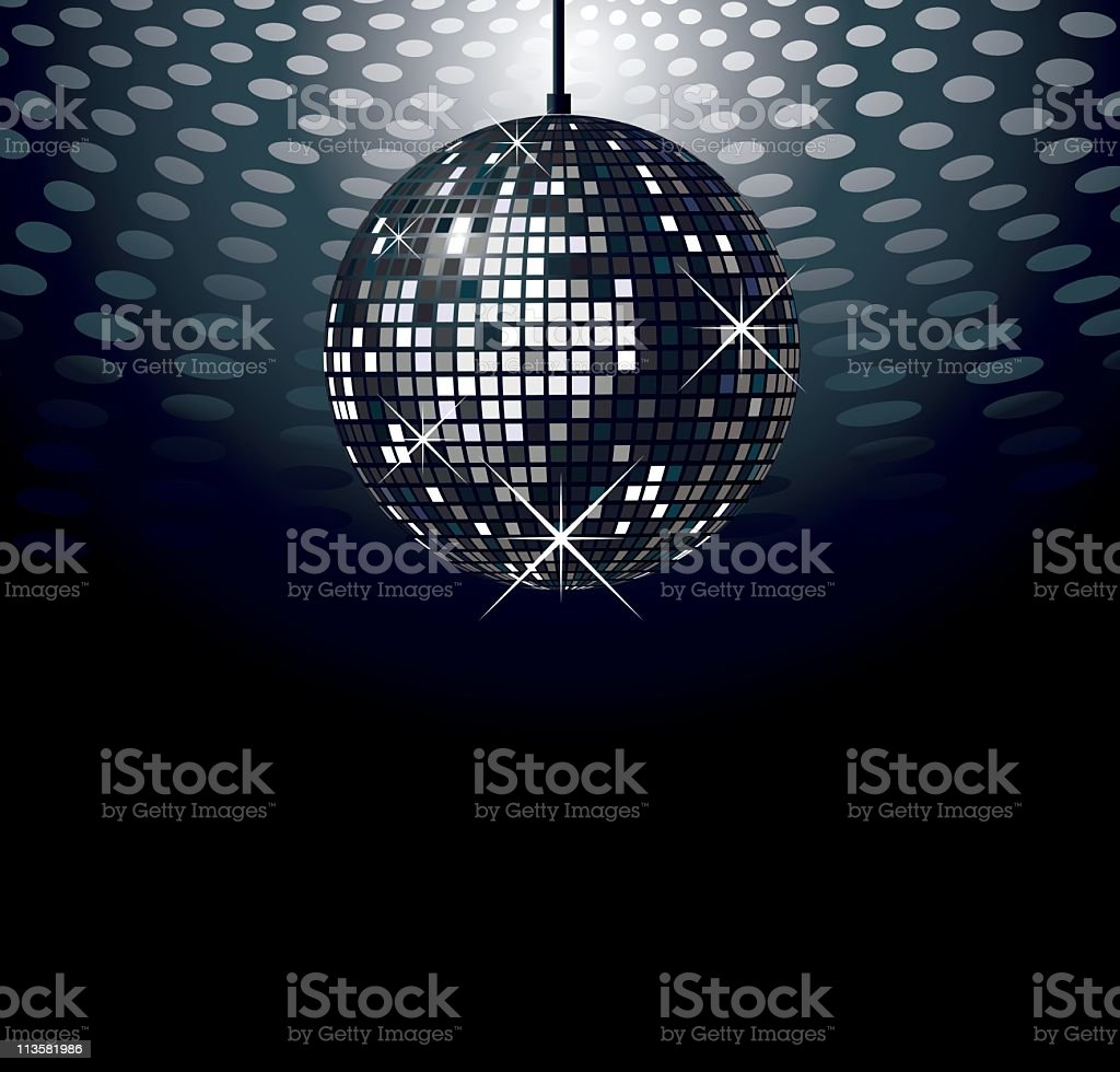 Sparkling disco ball over dark background with lights above royalty-free stock vector art