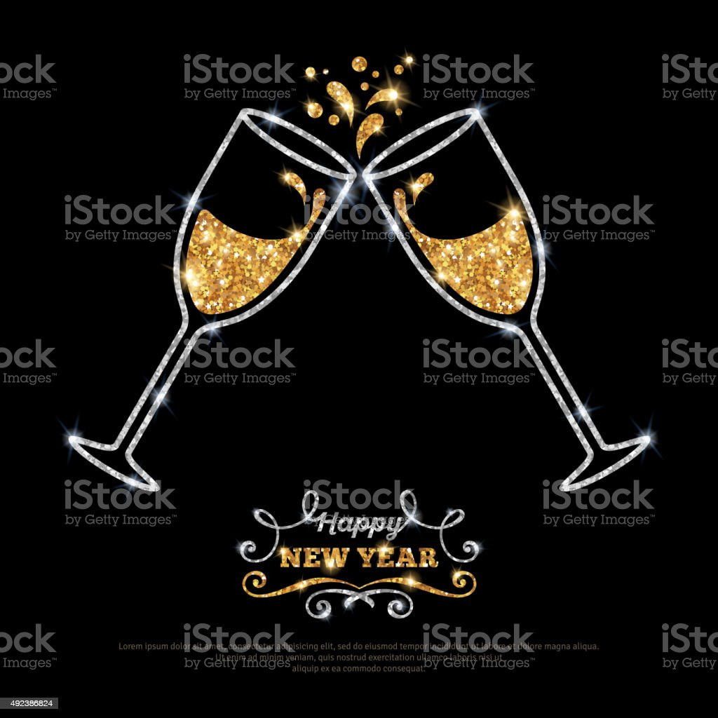 Sparkling gold silver champagne glasses. vector art illustration