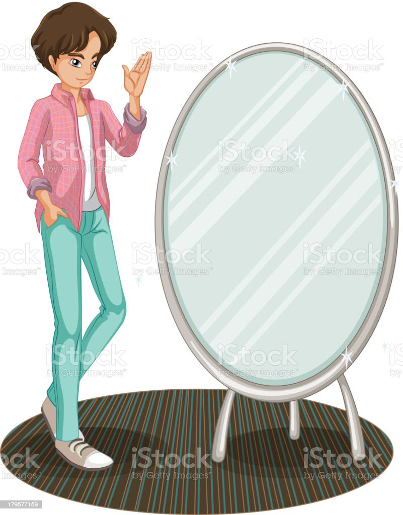 sparkling mirror beside a fashionable young man royalty-free stock vector art