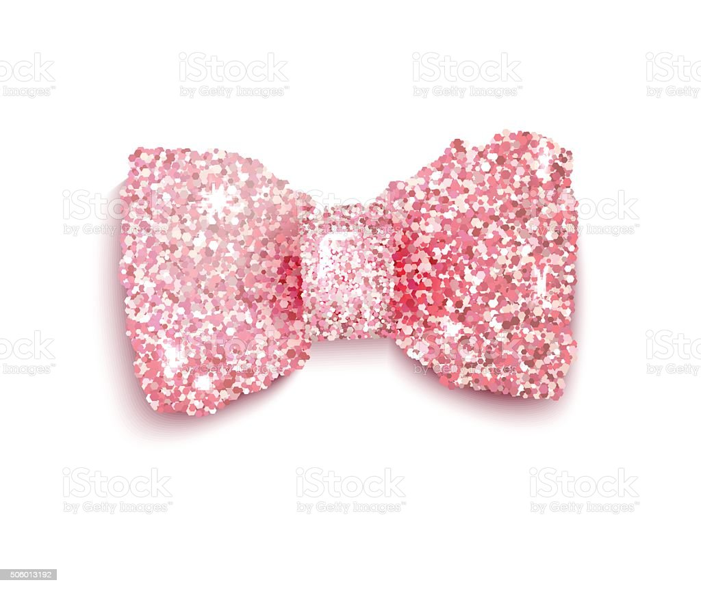 Sparkling pink glitter decorated bow for a baby girl vector art illustration