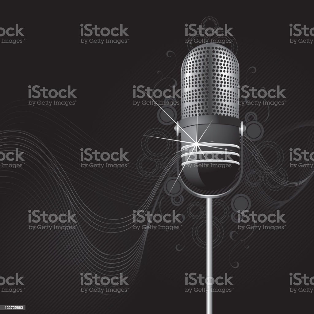 Sparkling retro a microphone royalty-free stock vector art
