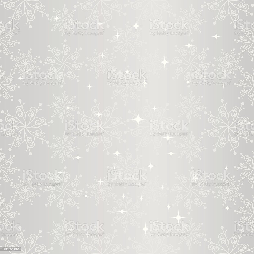 Sparkling sliver Christmas snowflake seamless pattern wallpaper royalty-free stock vector art