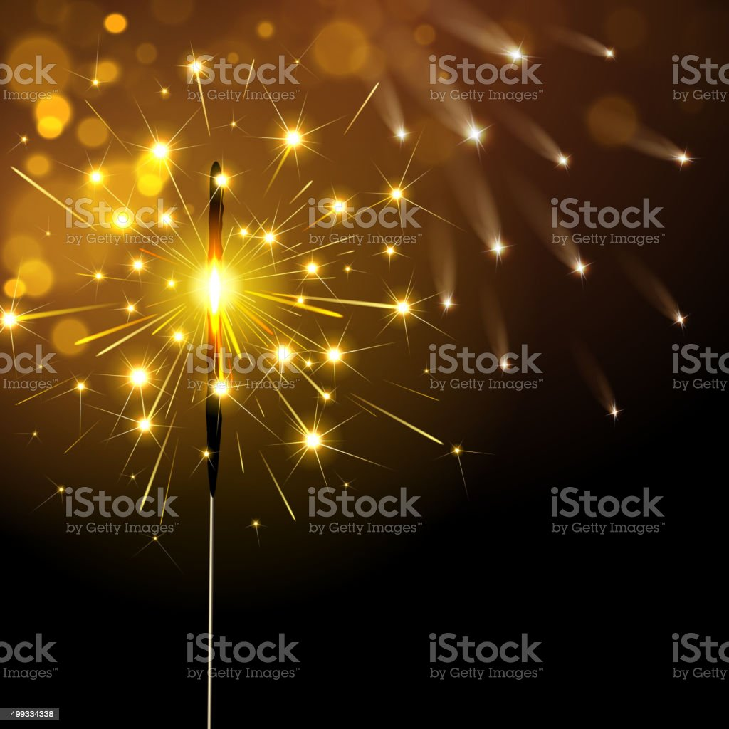 Sparkling Sparkler vector art illustration