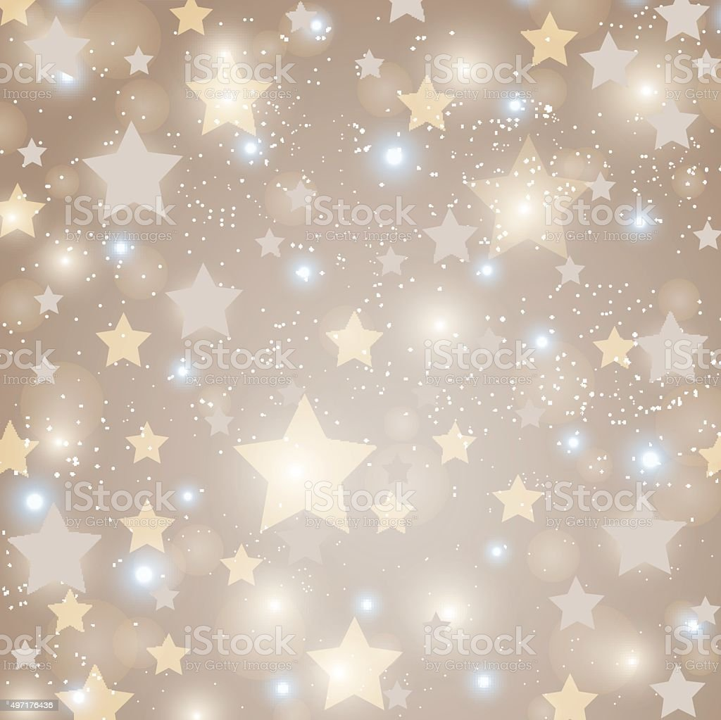 Sparkling stars on abstract golden background vector art illustration