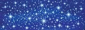 Sparkling twinkling stars (blue banner background). Glow galaxy for Christmas