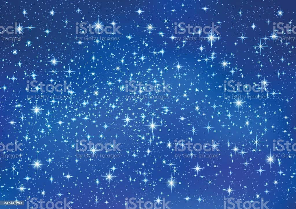 Sparkling twinkling Stars on blue background. Christmas Abstract (Xmas) galaxy vector art illustration
