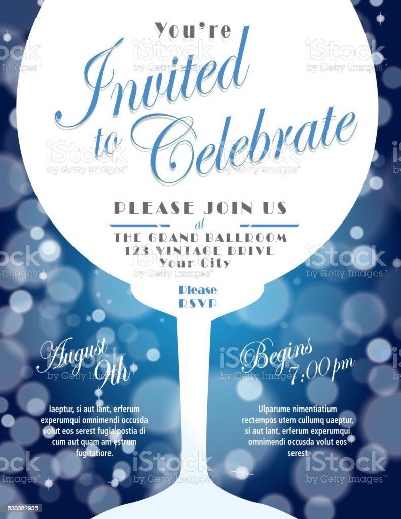 Sparkling wine tasting invitation template design blue background vector art illustration
