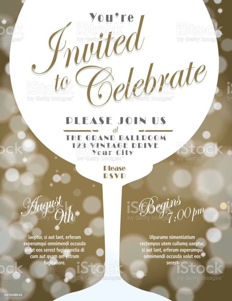 Sparkling wine tasting invitation template design with bokeh background vector art illustration
