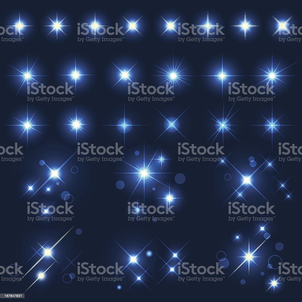 Sparks in the night sky glowing vector art illustration